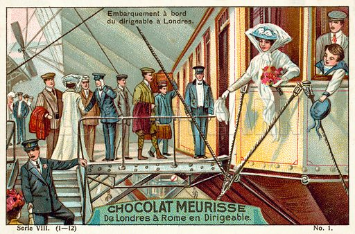 Boarding the airship in London. French educational card, early 20th century, from a series on a journey from London to Rome by airship.