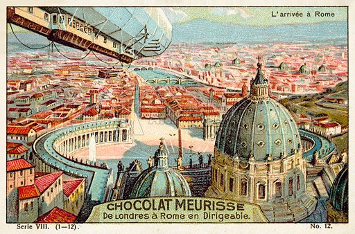 Arrival at Rome. French educational card, early 20th century, from a series on a journey from London to Rome by airship.