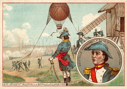 The first military balloon at the Battle of Fleurus, 1794. French educational card, early 20th century.