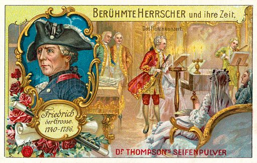 Frederick the Great of Prussia and a flute concert. German educational card, late 19th or early 20th century.