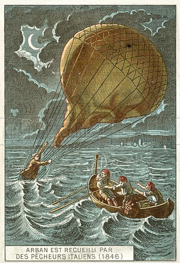 Francisque Arban rescued by Italian fishermen after his balloon crashed into the Adriatic, 1846. French educational card, late 19th or early 20th century.