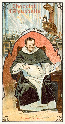 Dominican friar. French educational card, late 19th or early 20th century.