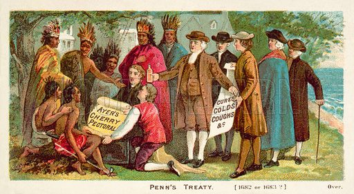 William Penn's treaty with the North American Indians, 1682. American educational card, late 19th or early 20th century.