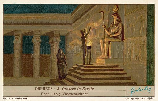 Orpheus in Egypt. Liebig educational card, late 19th or early 20th century.