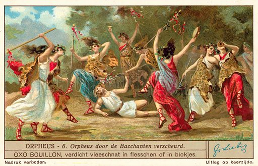 Orpheus torn to pieces by the Bacchantes. Liebig educational card, late 19th or early 20th century.
