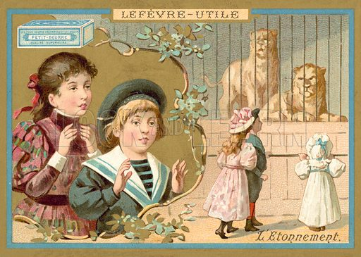 Astonishment. French educational card, late 19th or early 20th century.