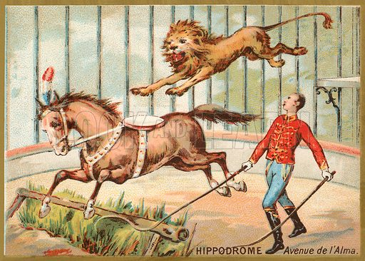 Hippodrome, Avenue d'Alma, Paris. French educational card, late 19th or early 20th century.