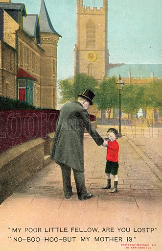 Boy, lost, in red jumper.  Postcard, early 20th century.