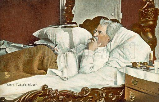 Mark Twain, lying in bed, smoking a cigar