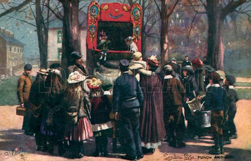London life, Punch And Judy Show. Postcard, early 20th century.