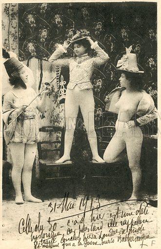 Three female artistes, wearing body stockings