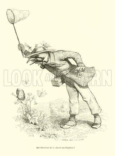 Que dites-vous de la chasse aux Papillons? Illustration for Scenes de la Vie Privee et Publique Des Animaux by Grandville (Hetzel, 1844).