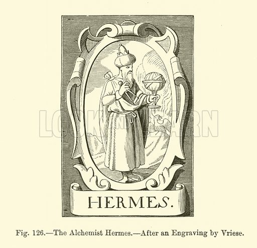 The Alchemist Hermes. Illustration for Science and Literature in the Middle Ages by Paul Lacroix (Bickers, 1878).