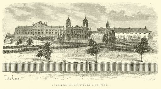 Le College des Jesuites de Santa-Clara. Illustration for Promenade autour du Monde 1871 by M Le Baron de Hubner (Hachette, 5th edn, 1877).