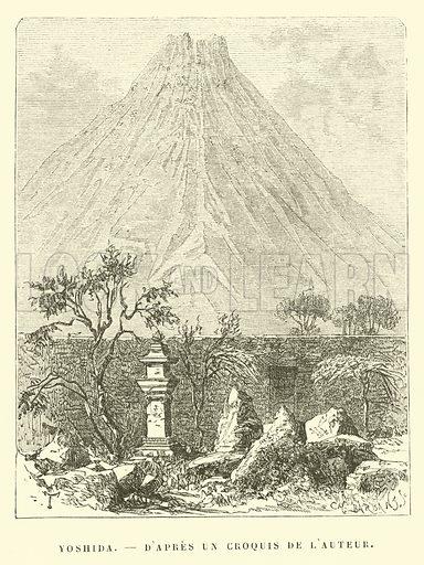 Yoshida, d'apres un croquis de l'Auteur. Illustration for Promenade autour du Monde 1871 by M Le Baron de Hubner (Hachette, 5th edn, 1877).