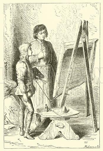 Leonardo Da Vinci, as a boy, in the studio of Vervechio. Illustration for The Boy Makes The Man (T Nelson, 1883).