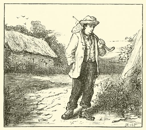 Hans Christian Anderson, on his way to Copenhagen. Illustration for The Boy Makes The Man (T Nelson, 1883).