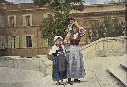 Rome, Famille Montant A La Trinite Du Mont. Illustration for Autour Du Monde (L Boulanger, c 1900).