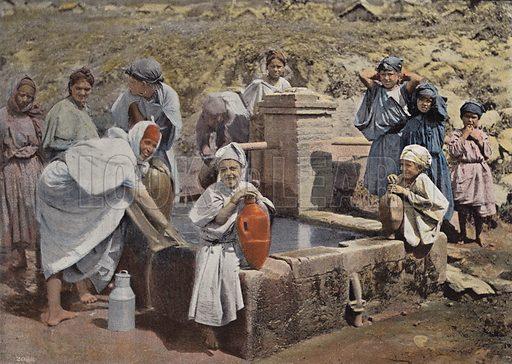 Femmes Kabyles A La Fontaine. Illustration for Autour Du Monde (L Boulanger, c 1900).