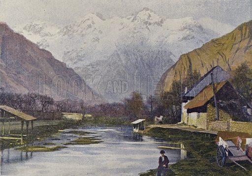 La Rive Et Le Massif De Belledonne. Illustration for Autour Du Monde (L Boulanger, c 1900).