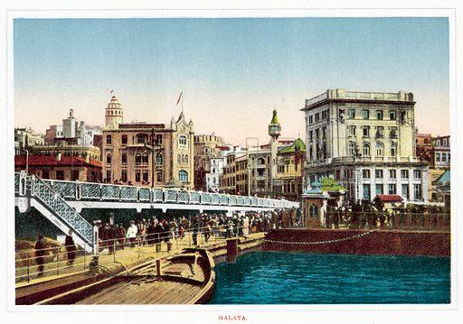 Galata. Illustration for Souvenir De Constantinople, circa 1910.