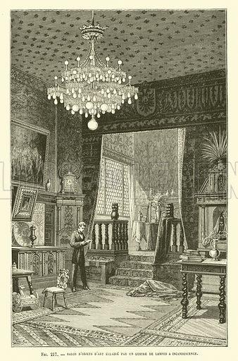 Salon D'Objets D'Art Eclaire Par Un Lustre De Lampes A Incandescence. Illustration for Les Nouvelles Conquetes De La Science, L'Electricite, by Louis Figuier (Librarie Illustree, Marpon & Flammarion, c 1880).