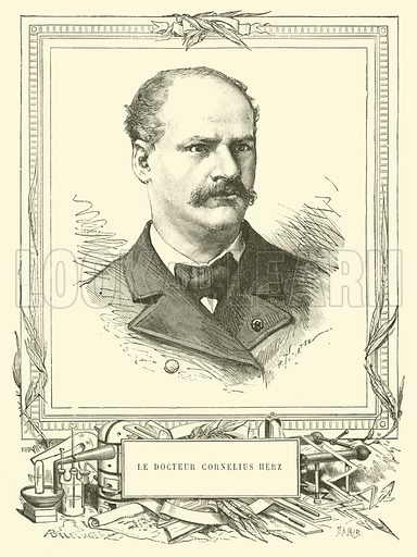 Le Docteur Cornelius Herz. Illustration for Les Nouvelles Conquetes De La Science, L'Electricite, by Louis Figuier (Librarie Illustree, Marpon & Flammarion, c 1880).