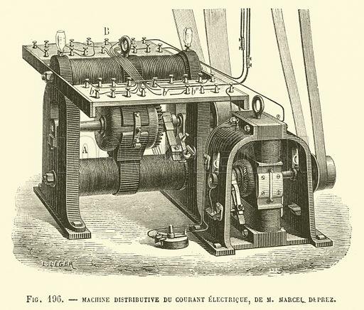 Machine Distributive Du Courant Electrique, De M Marcel Deprez. Illustration for Les Nouvelles Conquetes De La Science, L'Electricite, by Louis Figuier (Librarie Illustree, Marpon & Flammarion, c 1880).