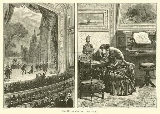 L'Opera A Domicile. Illustration for Les Nouvelles Conquetes De La Science, L'Electricite, by Louis Figuier (Librarie Illustree, Marpon & Flammarion, c 1880).