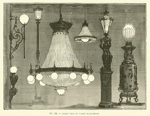 Divers Types De Lampes Werdermann. Illustration for Les Nouvelles Conquetes De La Science, L'Electricite, by Louis Figuier (Librarie Illustree, Marpon & Flammarion, c 1880).