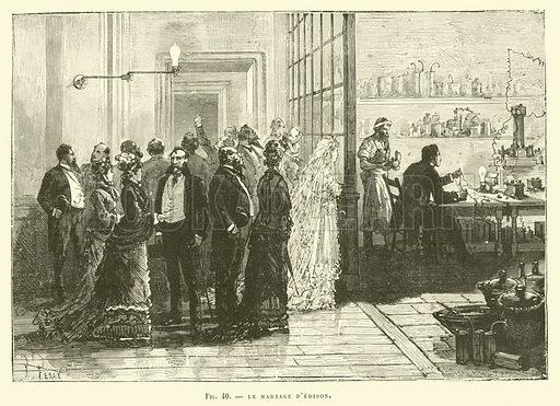 Le Mariage D'Edison. Illustration for Les Nouvelles Conquetes De La Science, L'Electricite, by Louis Figuier (Librarie Illustree, Marpon & Flammarion, c 1880).