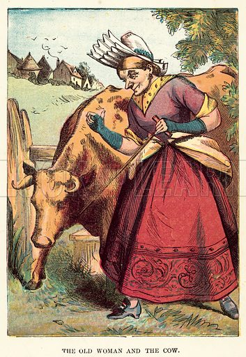 The old woman and the cow. Illustration for Aunt Friendly