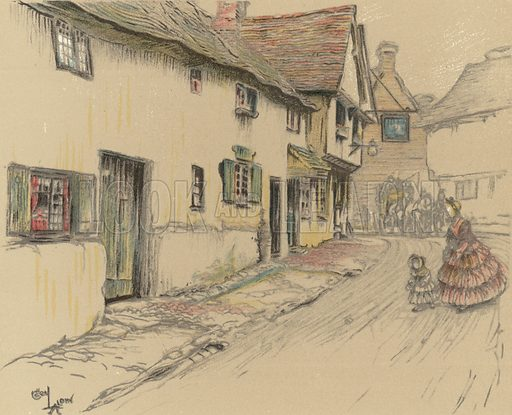 The George Inn, Dorchester. Illustration for Old Inns by Cecil Aldin (William Heinemann, 1921).