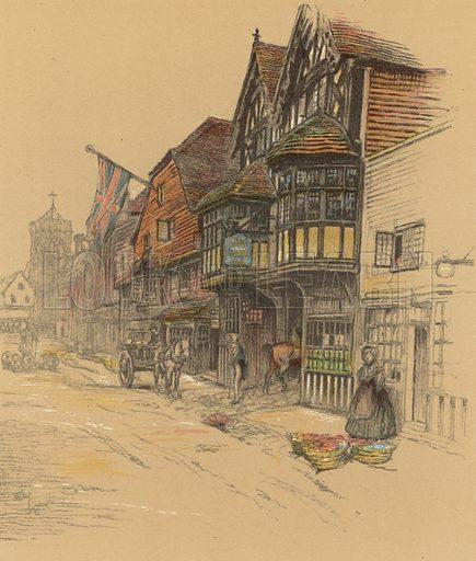 The George Inn, Salisbury. Illustration for Old Inns by Cecil Aldin (William Heinemann, 1921).