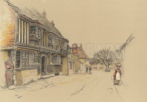 The Star Inn, Alfriston. Illustration for Old Inns by Cecil Aldin (William Heinemann, 1921).