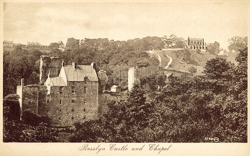 Rosslyn Castle and Chapel. Postcard, early 20th century.