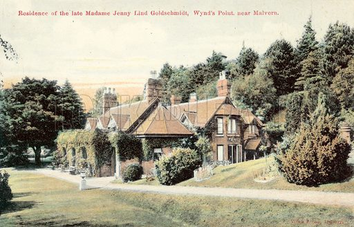 Residence of the late Madame Jenny Lind Goldschmidt, Wynd's Point, near Malvern. Postcard, early 20th century.