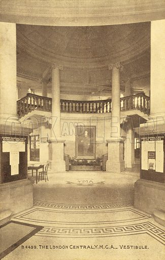 The London Central, YMCA, Vestibule. Postcard, early 20th century.