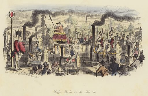 Hyde Park as it will be. Illustration for Follies of the Year by John Leech, a series of coloured etchings from Punch's Pocket Books, 1844–1864, published by Bradbury Evans & Co.