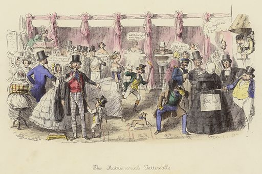 The Matrimonial Tattersalls. Illustration for Follies of the Year by John Leech, a series of coloured etchings from Punch's Pocket Books, 1844–1864, published by Bradbury Evans & Co.
