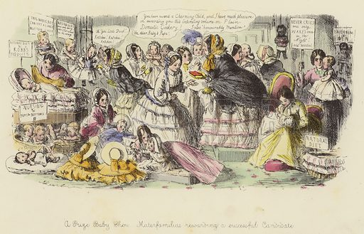 A Prize Baby Show, Materfamilias rewarding a successful Candidate. Illustration for Follies of the Year by John Leech, a series of coloured etchings from Punch's Pocket Books, 1844–1864, published by Bradbury Evans & Co.