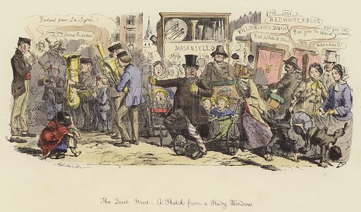 The Quiet Street, a Sketch from a Study Window. Illustration for Follies of the Year by John Leech, a series of coloured etchings from Punch's Pocket Books, 1844–1864, published by Bradbury Evans & Co.