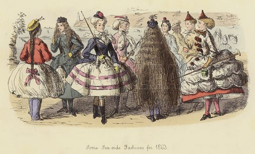 Some Sea-side Fashions for 1863. Illustration for Follies of the Year by John Leech, a series of coloured etchings from Punch's Pocket Books, 1844–1864, published by Bradbury Evans & Co.