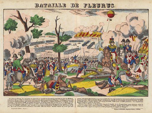 Bataille De Fleurus. Popular print illustration made by Pellerin at Epinal, France.