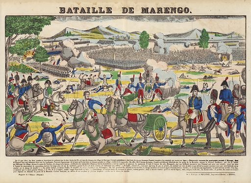 Bataille De Marengo. Popular print illustration made by Pellerin at Epinal, France.