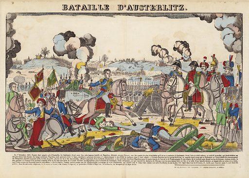 Bataille D'Austerlitz.  Popular print illustration made by Pellerin at Epinal, France.