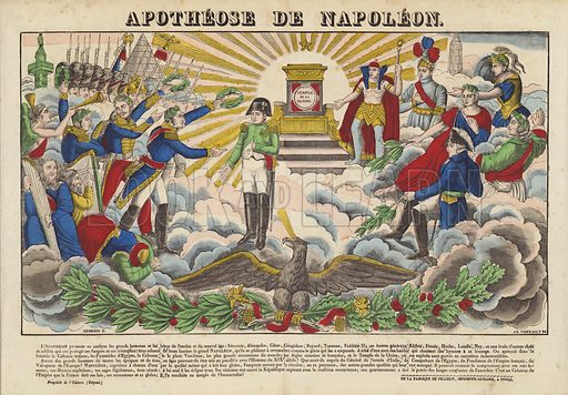 Apotheose De Napoleon. Popular print illustration made by Pellerin at Epinal, France.