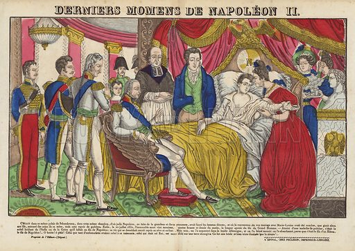 Derniers Momens De Napoleon II. Popular print illustration made by Pellerin at Epinal, France.