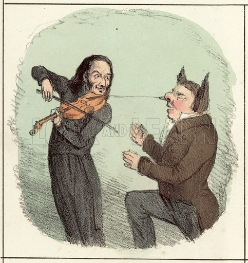 Paganini, Paganiniphopy. Detail from McLean's Monthly Sheet of Caricatures, No 21 [1831].