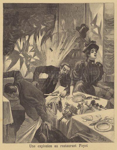 Anarchist bombing of the Restaurant Foyot, Paris. Une explosion au restaurant Foyot. Illustration for Le Petit Journal, 16 April 1894.